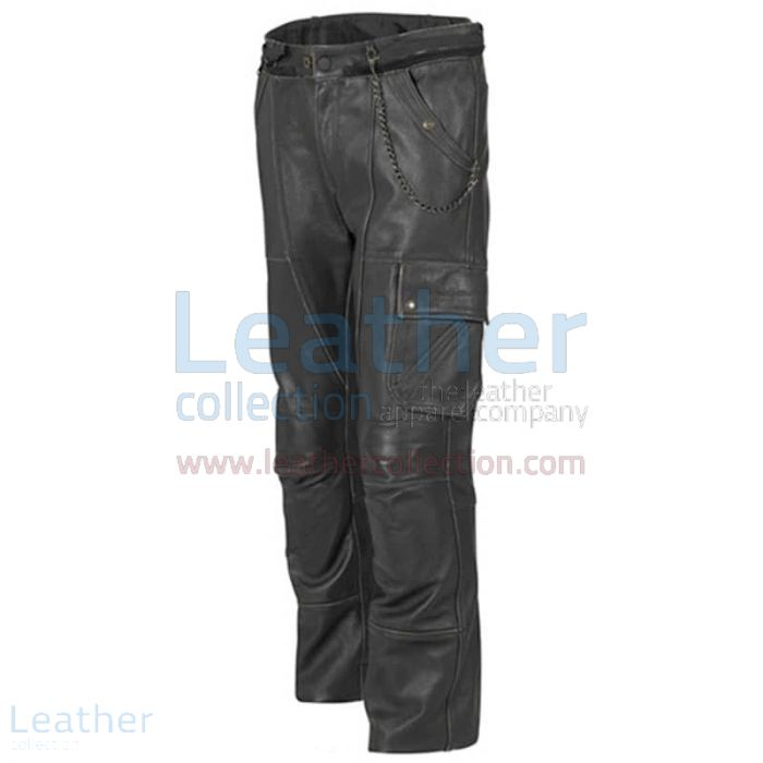 Classic Leather Motorcycle Trousers Side View