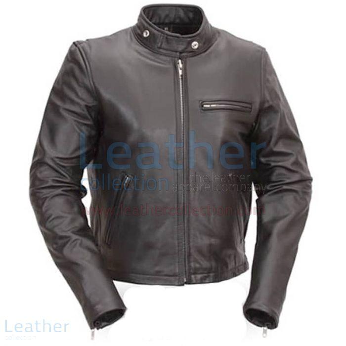 Klassische Leder Roller Jacke Vorderansicht