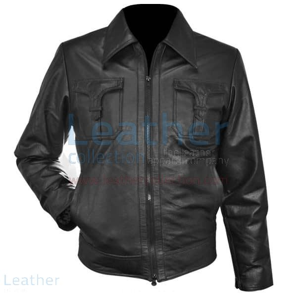 Classic Style Leather Jacket front view