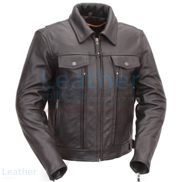Cruiser Motorcycle Jacket with Dual Utility Pockets front view