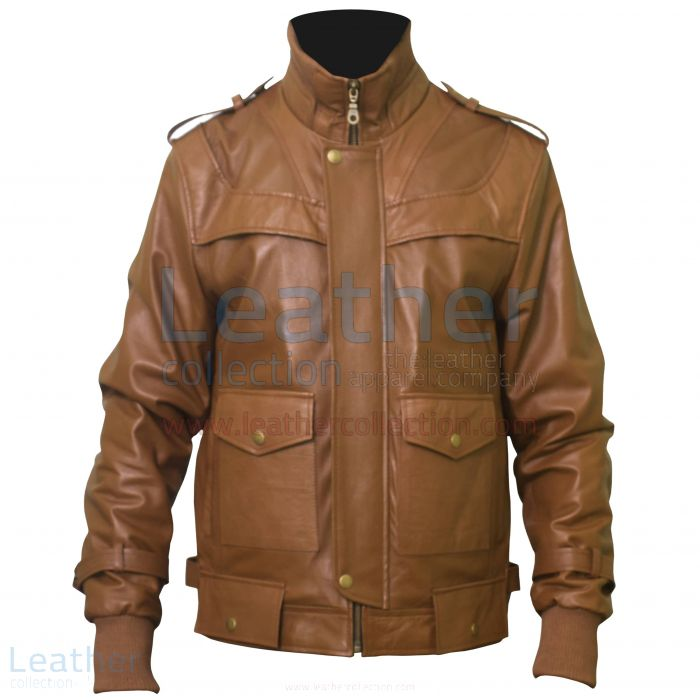 Curious Mens Fashion Leather jacket front view
