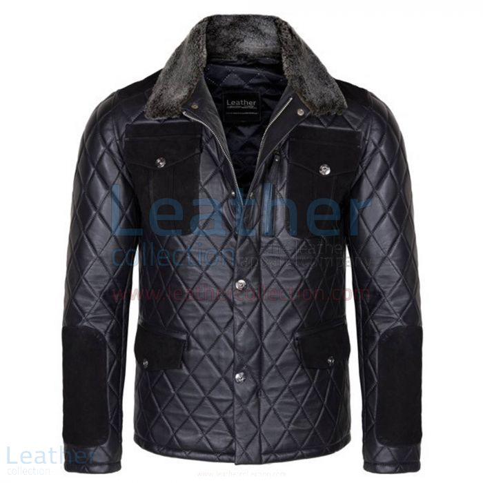 Diamond Leather and Fur Jacket Men Front View