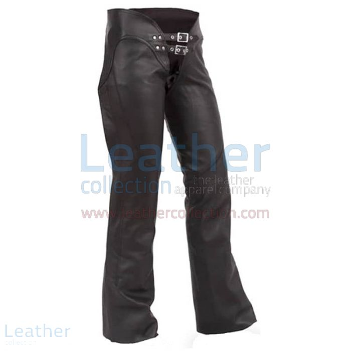 Double Belted Ladies Leather Chaps front view