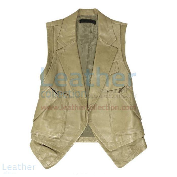 Fashion Leather Vest Coat front view