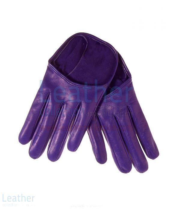Mode Kurz Handschuhe Leder lila