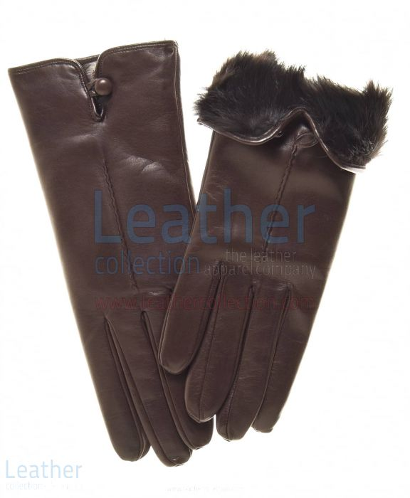 Fur Lined Leather Gloves Upper View