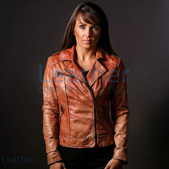 Ginger Leather Jacket for Women front closed view
