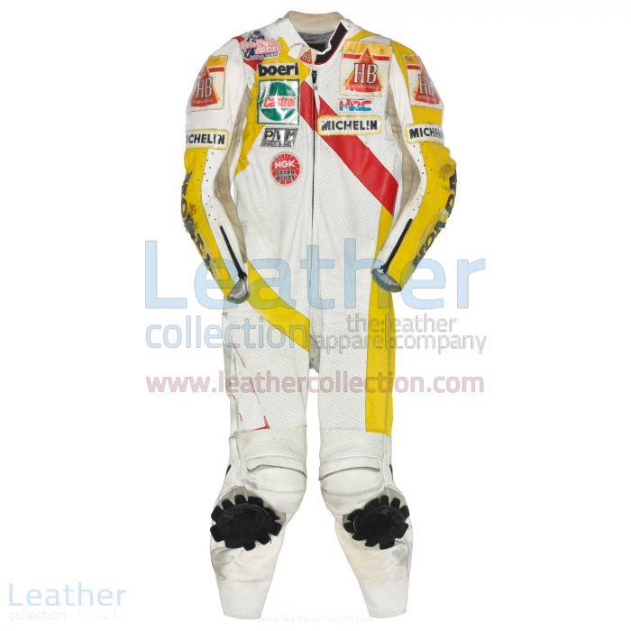 Helmut Bradl HB Honda GP 1989 Motorcycle Leathers front view