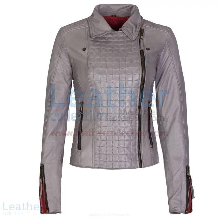 Heritage Ladies Fashion Leather Jacket Grey front closed view