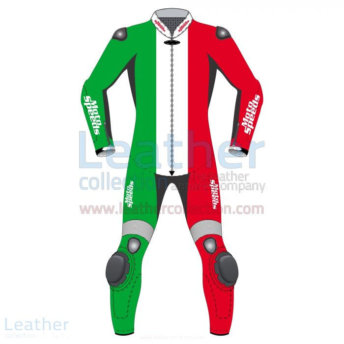 Italy Flag Moto Suit Front View
