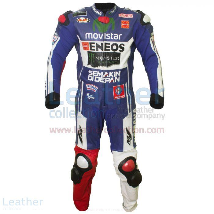 Jorge Lorenzo 2014 Movistar Yamaha Leathers front view