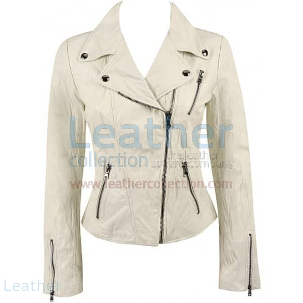 Ladies Brando Style Crinkle Casual Leather Jacket front view