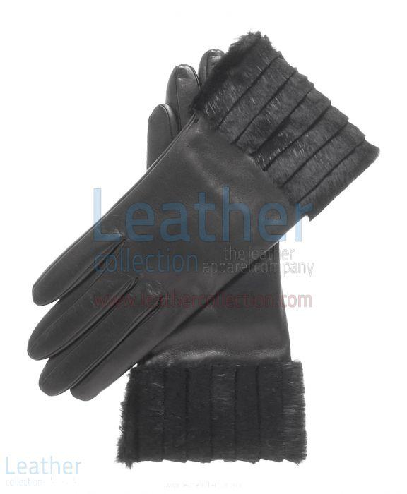 Ladies Fashion Black Fur Cuff Gloves upper view