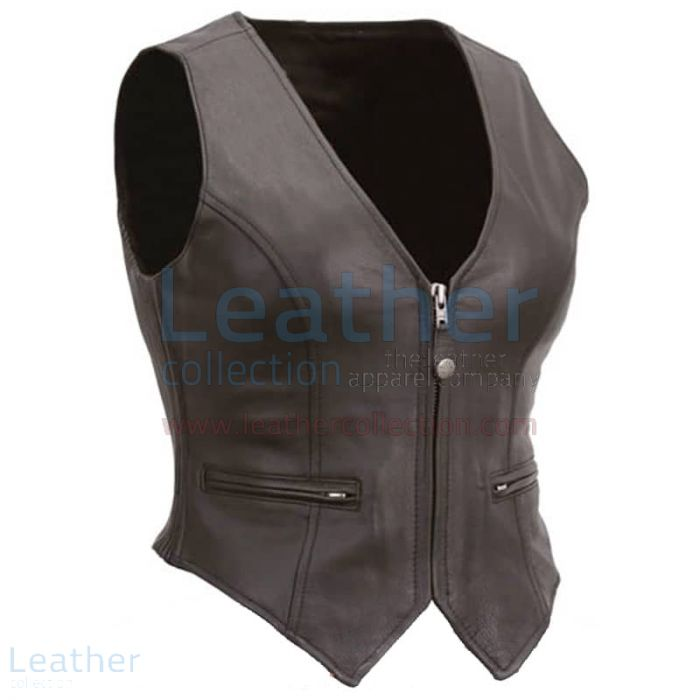 Ladies Motorcycle Leather Zipper Vest front view