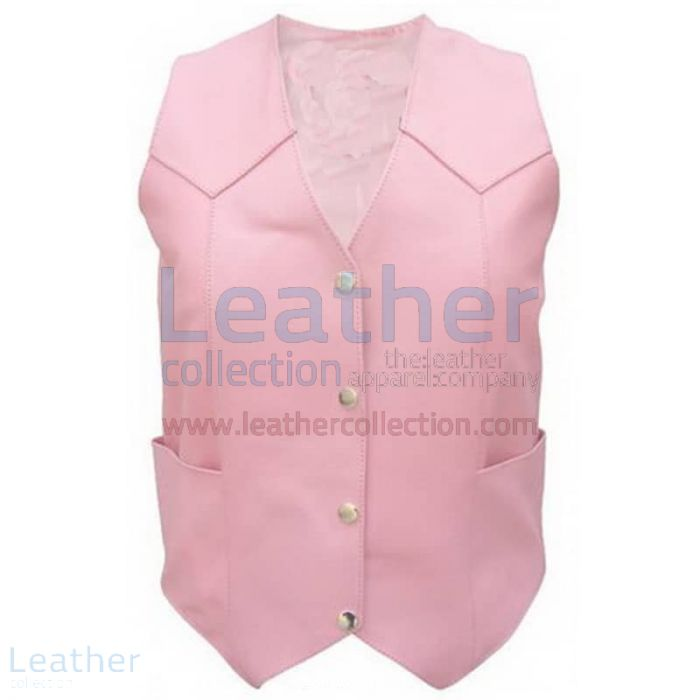 Ladies Pink Basic Plain Vest front view
