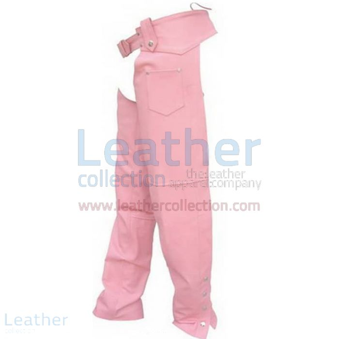 Ladies Pink Leather Chaps front view
