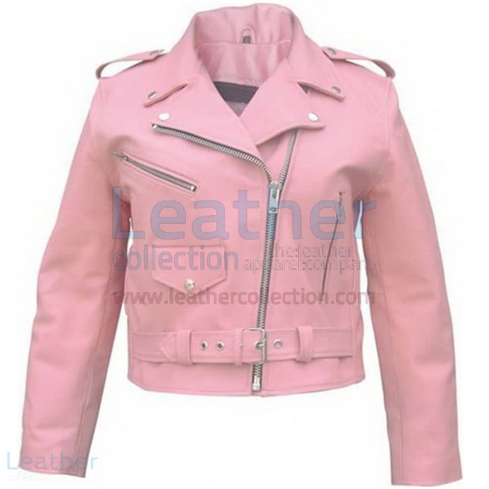 Ladies Pink Motorcycle Jacket front view