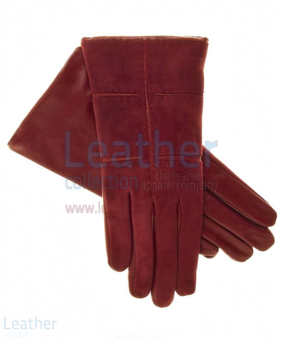 Ladies Red Suede Gloves with Lambskin Palms and Inserts