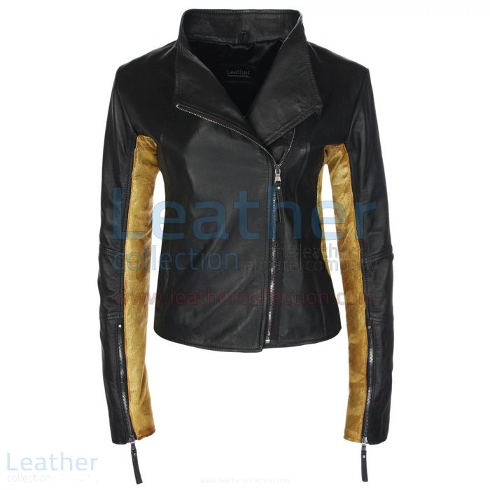 Ladies Sovereign Black & Gold Leather Jacket front