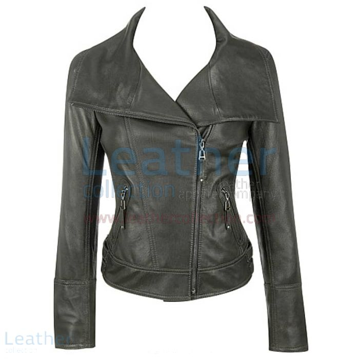 Lamb Leather Asymmetrical Black Jacket front view