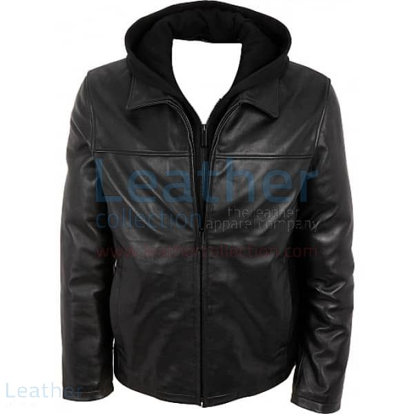 Leather Jacket With Hood Front View