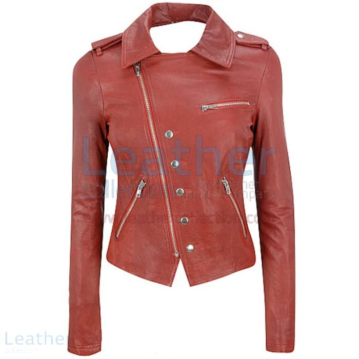Cutaway Asymmetrical Leather Jacket Womens front view