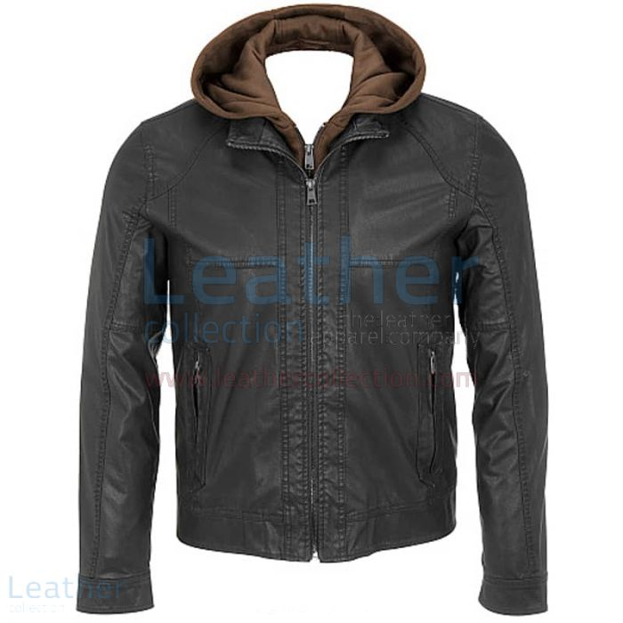 Black Leather Jacket With Hood Mens Front View