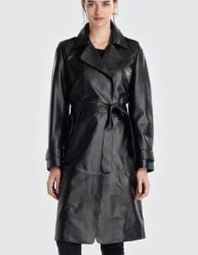 Womens Long Leather Coat
