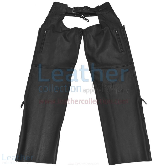 Leather Moto Chaps Black front view