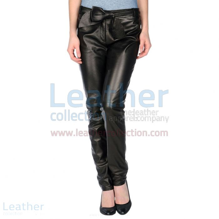Womens Black Leather Pants With Leather Belt Front View