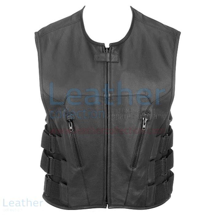 Leather Rider Vest with Velcro Side Straps front