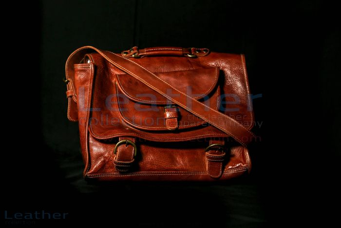 Leather Tour bag front view with strap