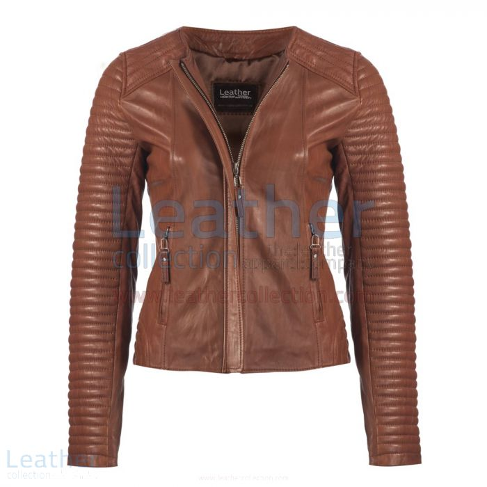 Ladies Legacy Leather Jacket Brown front view