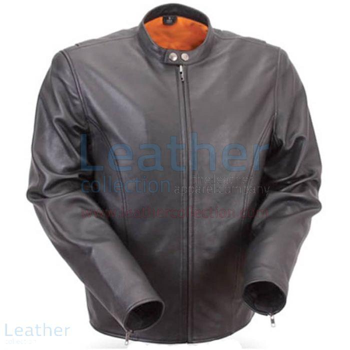 Summer Motorcycle Lightweight Leather Jacket Front View