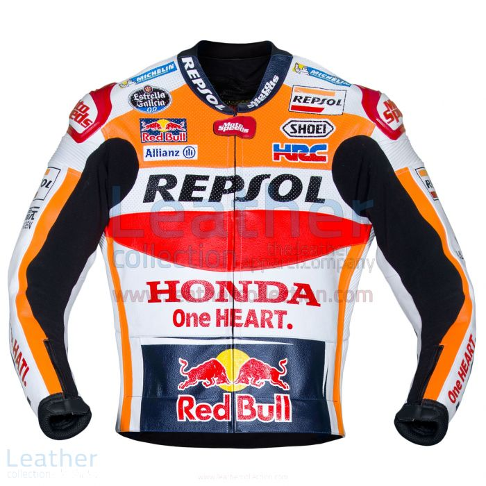Marc Marquez Honda Repsol MotoGP 2017 Leather Jacket front view