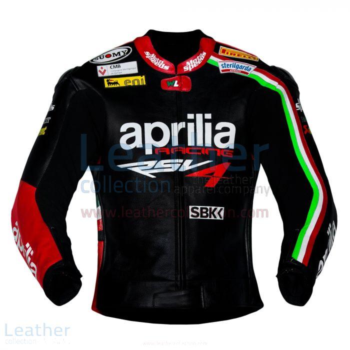 Max Biaggi Aprilia Motorbike Leather Jacket front view