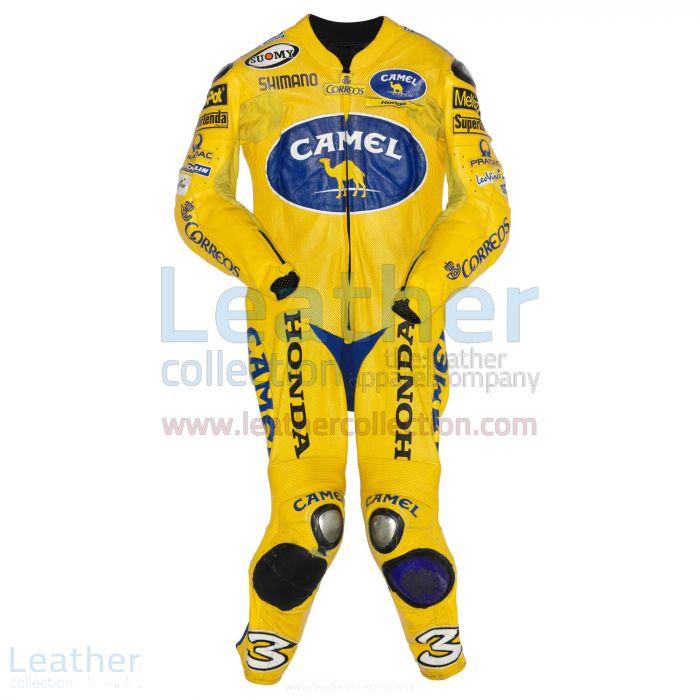 Max Biaggi Camel Honda MotoGP 2004 Leathers front view