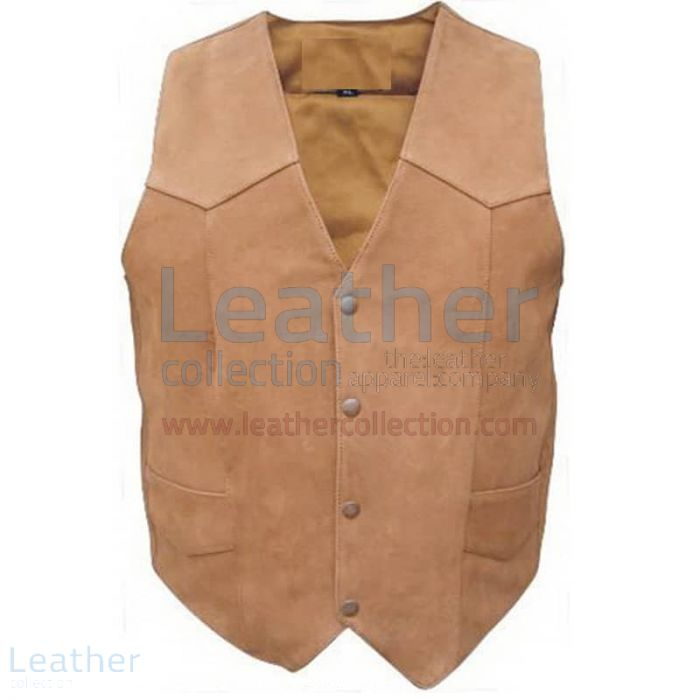 Gun Pocket Leather Vest Men Front View