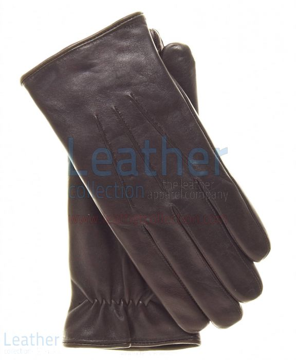 Brown Lambskin Winter Gloves For Men upper view