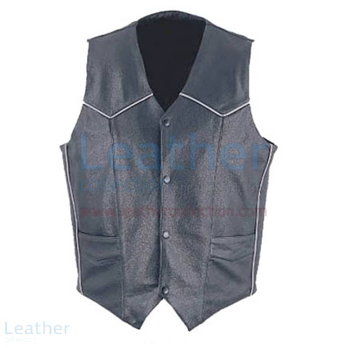 Mens Classic Leather White Piping Vest front view
