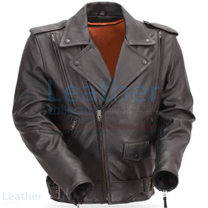 Mens Classic Motorcycle Jacket with Gun Metal Hardware front view