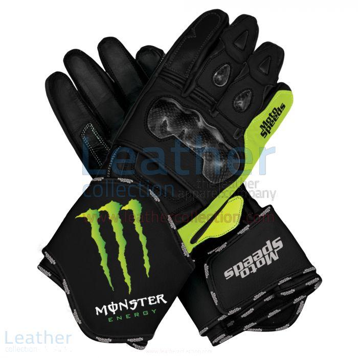 Monster Motorbike Leather Race Gloves