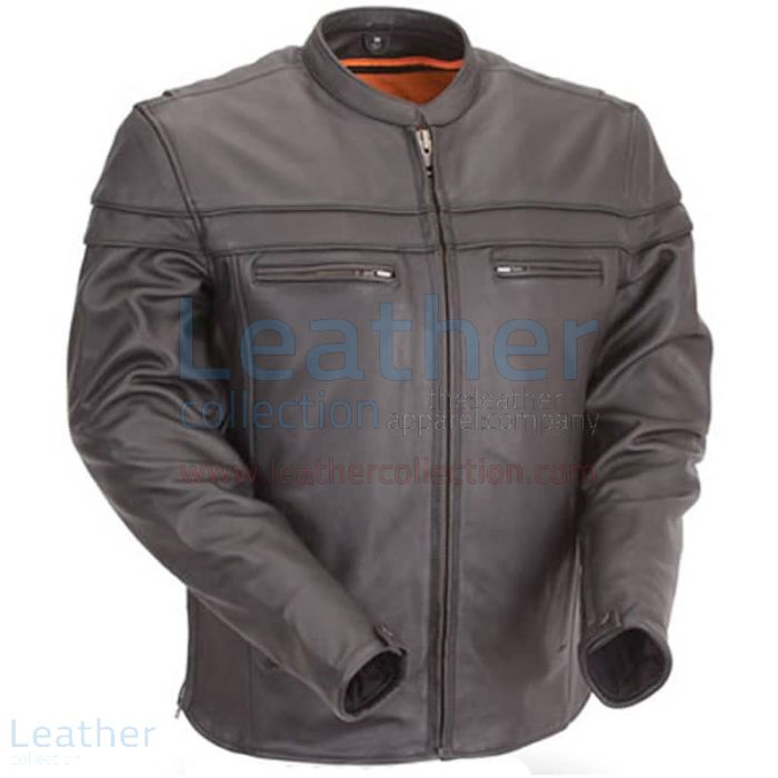 Moto Biker Jacket with Mandarin Collar Front View