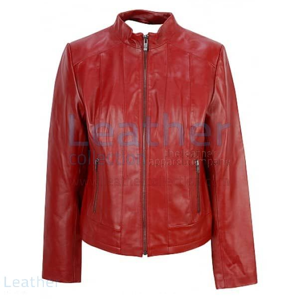 Red Fashion Jacket of Leather front view