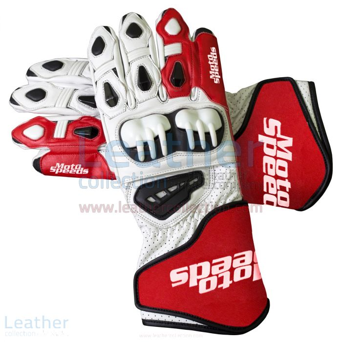Red & White Leather Moto Gloves upper view
