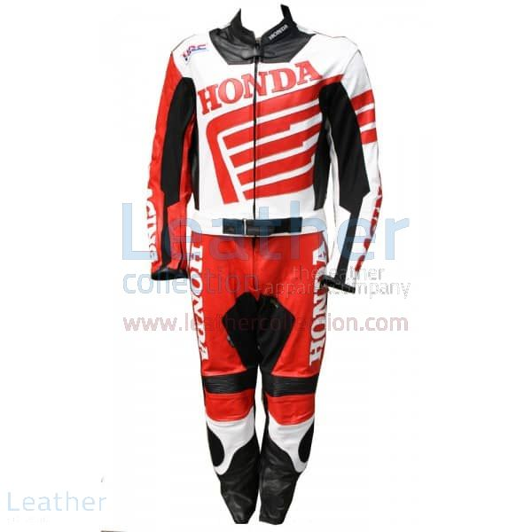 Red Honda Motorbike Leather Suit front