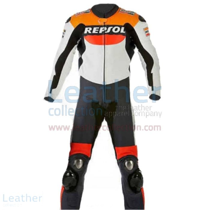 Repsol Motorbike Racing Leather Suit front view