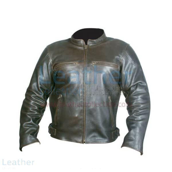 Retro Brown Leather Jacket front view