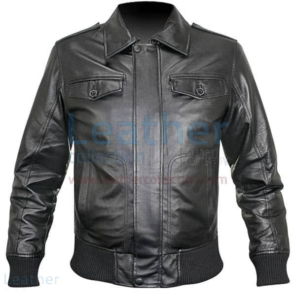 Rib Knit Retro Leather Jacket front view