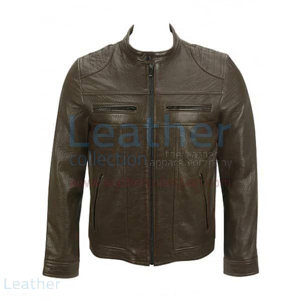 Saddle Shoulder Antique Leather Jacket front view